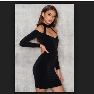 NWT NOOKIE SEXY BLACK CHOKER BODYCON MINI DRESS XS